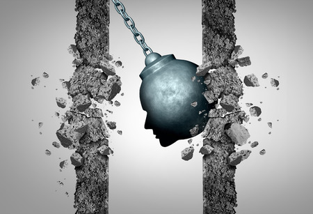 destroying: Change thinking concept as a wrecking ball shaped as a human head destroying boundaries and limitations as a business metaphor for transformative intelligence or medical migraine pain and headache symbol with 3D illustration elewments.