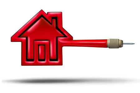 housing estate: House target real estate buying or selling concept as a flying red dart shaped as a home as housing mortgage rates metaphor for real estate agent target as a 3D illustration white background.