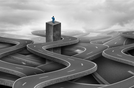 tangled roads: Concept of lost as a solitary businessman or individual person confused and confined from a group of tangled roads and highway paths as a metaphor for business confusion or being stranded with 3D illustration elements.