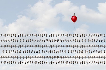 Concept to think different as a group of birds on a wire with an upward moving bird on a red balloon as a business success metaphor of oputsider thinking and game changer symbol with 3D illustration elements.
