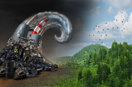 Pollution wave concept and environmental danger symbol as industrial dirty waste and garbage shaped as an ocean storm wave as a metaphor for the risk of toxic air and the effects on climate with 3D illustration elements. Stock Photo