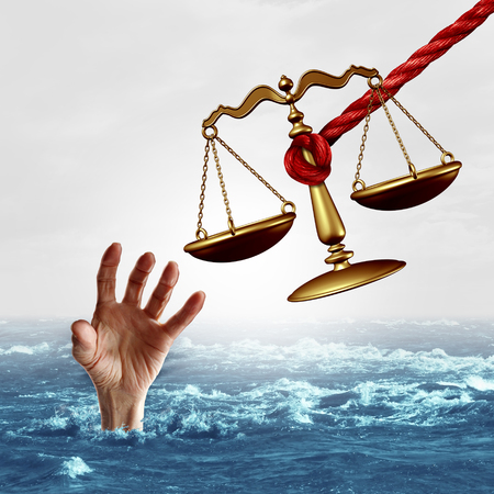 drowning: Legal aid concept and law help or lawyer services concept as a justice scale being offered to save a drowning person as a symbol of attorney services solving problems as a metaphor with 3D illustration elements.