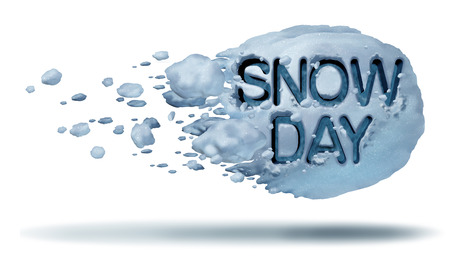 Snow day weather symbol as a flying snowball with text embossed in the frozen ice crystals as a fun winter season activity concept with 3D illustration elements. Stok Fotoğraf