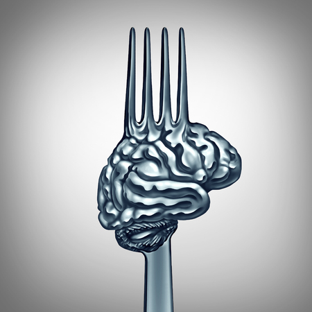 food: Brain food symbol as a metal fork shaped as a human thinking organ to boost brainpower with nutrition concept for mind health or making wise intelligent eating choices icon as a 3D illustration.