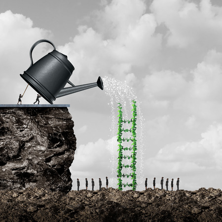 business metaphor: Growth and success strategy as a team of business people using a giant watering can to hydrate and nurture a ladder tree to help reach opportunity as a solution metaphor with 3D illustration elements. Stock Photo