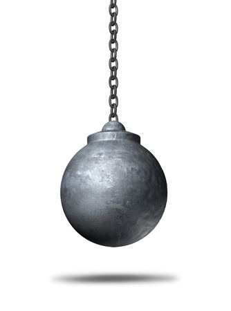 demolishing: Wrecking ball object on a white background as a metaphor for renewal and demolishing or demolition and destruction icon as a 3D illustration of a business symbol. Stock Photo