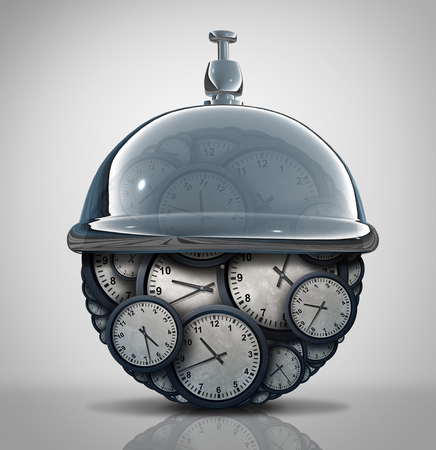 hospitality: Time service concept as a group of clock objects with a hospitality service bell as a business schedule metaphor as a 3D illustration. Stock Photo
