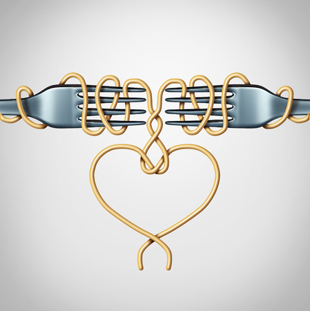 Romantic date concept and couple in love relationship symbol as two forks with spaghetti shaped as a valentine heart as a 3D illustration. Stock fotó
