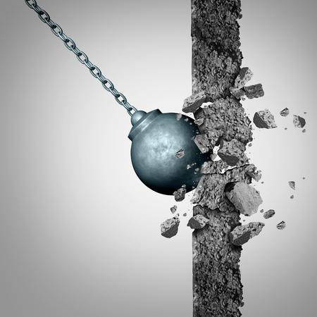 3 D イラストレーションの要素とビジネスのシンボルとしてリニューアルと解体の限界のための隠喩として固体セメント障害物を破壊する重いレッキ 写真素材