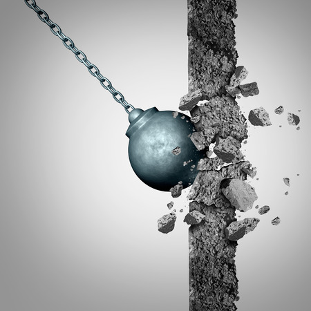 Breaking through walls with a heavy wrecking ball  destroying a solid cement obstacle as a metaphor for renewal and demolishing limitations as a business symbol with 3D illustration elements.