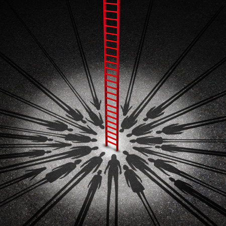 shadow people: People opportunity concept and society or social opportunities as a red success ladder going up towards a community wish as the shadow of diverse men women and children with 3D illustration elements. Stock Photo