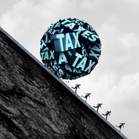 taxation: Tax stress concept and taxation stress symbol as a group of text shaped as a ball rolling down a hill towards people as a metaphor for accounting and bookkeeping panic with 3D illustration elements.