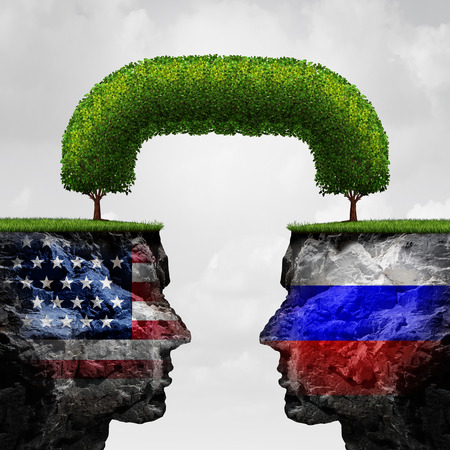American Russian cooperation or Russia  United states partnership and international trade and political agreement or financial concept as two seperate mountain cliffs united together by a connected tree as a global connection symbol with 3D illustration e