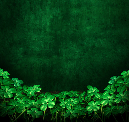Clover green grunge background with four leaf clovers with copyspace as a symbol for saint patrick or Irish celebration as a 3D illustration. Foto de archivo
