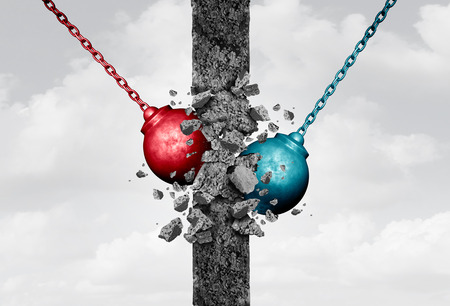 Breaking down walls together with two heavy wrecking ball equipment destroying a solid cement obstacle as a bipartisan metaphor for team agreement and demolishing relationship barriers or a business symbol with 3D illustration elements.