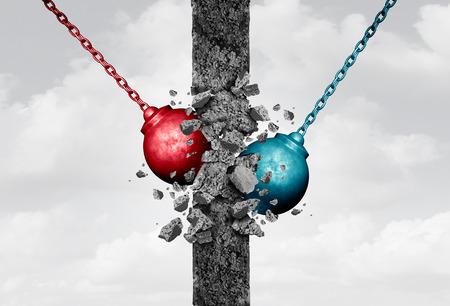conceito: Quebrar paredes, juntamente com dois pesados ??equipamentos bola de demolição destruir um obstáculo cimento sólido como uma metáfora bipartidária para um acordo equipe e demolindo barreiras de relacionamento ou um símbolo de negócios com elementos ilustração 3D.
