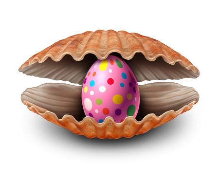 Osterei Überraschung Entdeckung wie eine Perle in einem offenen Meer Shell als Metapher für eine seltene Feder eijagd Schatz und Reichtum als eine Muschel mit einem wertvollen natürlichen Edel oval innen auf einem weißen Hintergrund. Standard-Bild - 68518133
