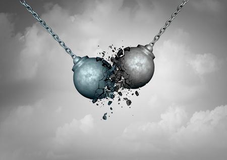 Distruttiva concetto di business concorrenza come due palle da demolizione collisione insieme con conseguente scioglimento frantumato come una metafora lotta rivalità come illustrazione 3D.