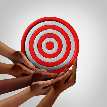 common vision: Goal of society objective as a group vision concept as a crowd of diverse ethnic people hands holding a circle target object as a social solution metaphor or with 3D illustration elements. Stock Photo