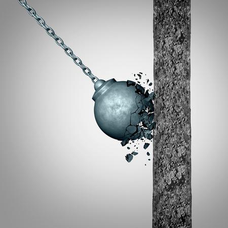 Concept van kwetsbaarheid en kracht en weerstand als een falende sloopkogel uit elkaar te breken na het raken van een stevige betonnen muur als een fragiele metafoor met 3D illustratie elementen. Stockfoto - 68177087