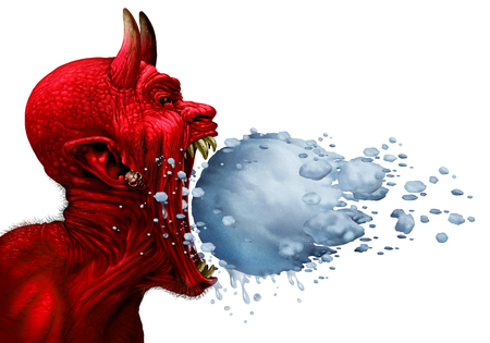 Devil in winter as a red demon or monster with in an open mouth having a frozen and melting snowball heading towards the character as a metaphor for hot and cold weather isolated on white with 3D illustration elements.