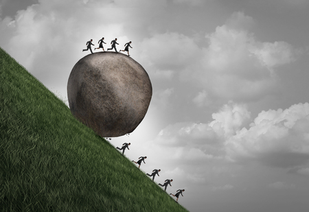 oppressive: Employment inequality concept as a group of people running away from a rolling boulder with businesspeople on top as a metaphor for oppressive human resource work pressure with 3D illustration elements.