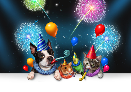 New year pet celebration as a night party with fireworks partying as a group of animals as a happy dog cat bird and hamster celebrating an anniversary or birthday party with 3D illustration elements. Banque d'images