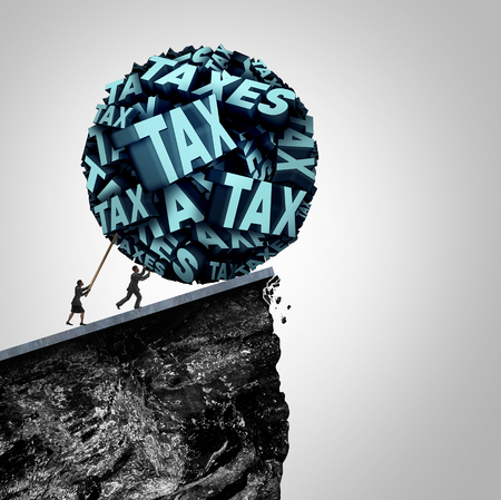 tax accountant: Tax strategy concept as an accountant and bookkeeping symbol as people pushing a huge ball made of taxes text being pushed off a cliff as a financial and fiscal management symbol with 3D illustration elements.