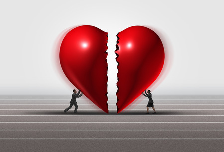 Fixing a relationship concept as a man and woman pushing a broken heart together as a romantic couple repairing thier love with 3D illustration elements. Standard-Bild