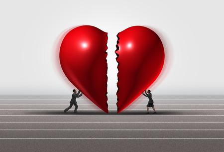La fissazione di un rapporto concetto di uomo e donna che spinge un cuore spezzato insieme come una coppia romantica riparazione burbero amore con elementi illustrazione 3D. Archivio Fotografico - 68176494