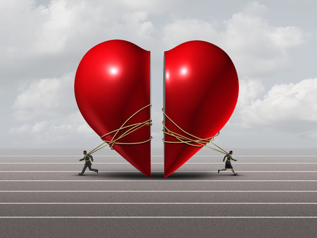 Couple in crisis and relationship problem concept as a man and woman pulling apart a red valntine heart as a divorce or separation metaphor with 3D illustration elements.