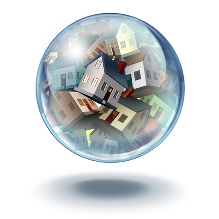 housing estate: Housing bubble symbol and house buying and selling concept as an inflated balloon with a group of real estate homes in financial and mortgage danger with 3D illustration elements.