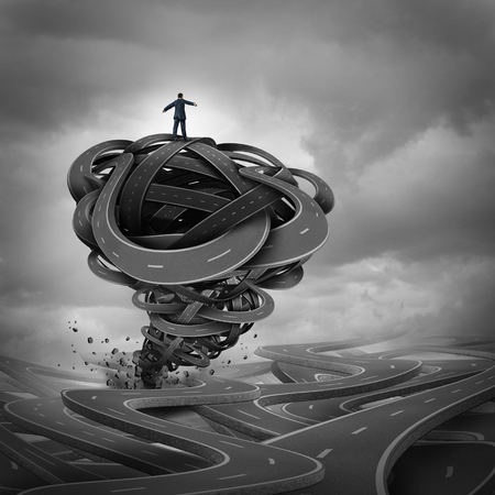Business management concept as a businessman on top of a group of tangled roads shaped as a violent destructive storm tornado or hurricane as a financial risk metaphor with 3D illustration elements.