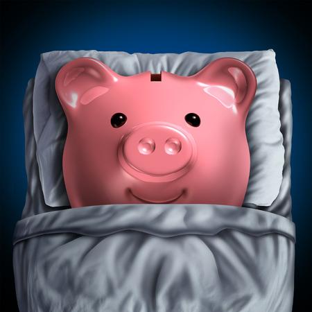 ganancias: Inactivo símbolo de cuenta bancaria de ahorros como una alcancía en reposo en la cama como una metáfora de la inversión financiera no reclamado en estado latente con elementos de ilustración 3D. Foto de archivo