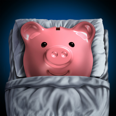 Inactive savings banking account symbol as a piggy bank resting in bed as a dormant unclaimed financial investment metaphor with 3D illustration elements. Stock Photo