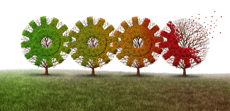 economic depression: Business decline concept as a group of connected season changing trees shaped as gear or cog machine wheels as an economic metaphor for financial loss with 3D illustration elements.