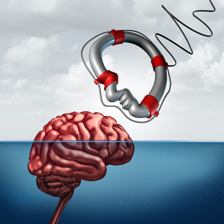 help symbol: Psychology giving help concept and psychiatry counseling treatment or neurology research as a mental health symbol or education assistance as a lifesaver shaped as a human head with 3D illustration elements.