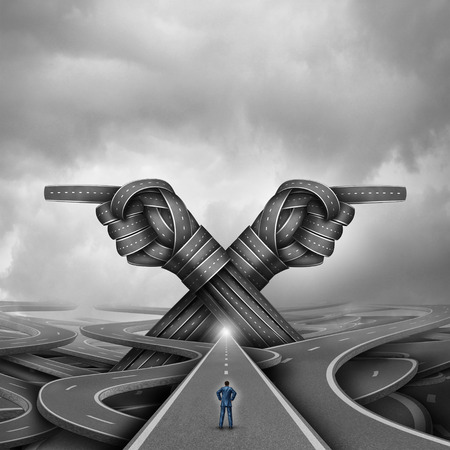 challenges: Crossroads concept of choice and choosing a right or left pathway or road to success as a confused businessman being advised to go into two directions with roads shaped as pointing hands with 3D illustration elements.