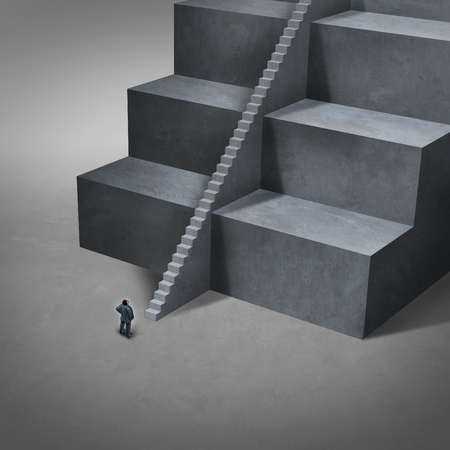 job opportunity: Career job opening and job access concept as big impossible to climb stairs with smaller easy stairs for a business person to reach opportunity with 3D illustration elements. Stock Photo