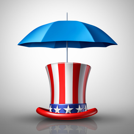 shielded: American security concept or United States protection symbol as a hat with a flag and and umbrella as a metaphor for national defense or social safety net icon as a 3D illustration. Stock Photo