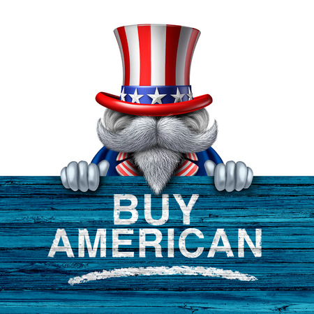 commerce and industry: Buy american business concept as a United States of America character holding a patriotic sign with painted text as a marketing campaign for national us economic support for the local economy with 3D illustration elements. Stock Photo