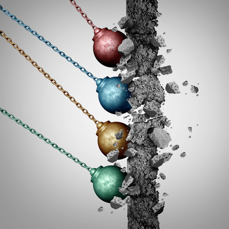 Group power concept as an organized set of diverse wrecking balls breaking down a cement wall together in solidarity with a common strategy as a business metaphor for society removing barriers with 3D illustration elements. Stock Photo