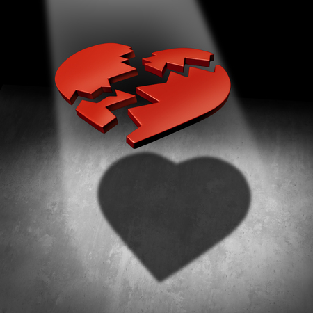 mend: Mend a heart love concept and couple counseling healing or marriage counselor symbol as a broken heart with a cast shadow of a united relationship as a 3D illustration.
