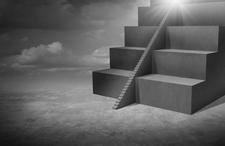 size: Small business opportunity and solutions as big stairs with tiny staircase as a success pathway for smaller companies or individuals with 3D illustration elements.