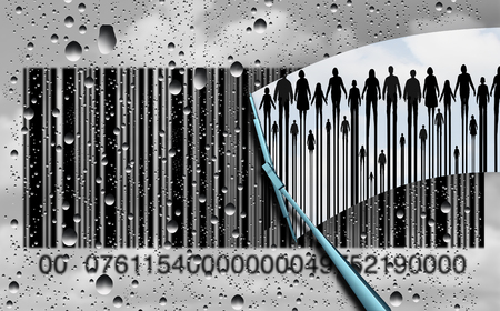 consumer society: Consumer research concept and customer retail shopping trends as a cloudy rain soaked window with a bar code and a wiper clearing the confusion to reveal real clientele as a business metaphor with 3D illustration elements.