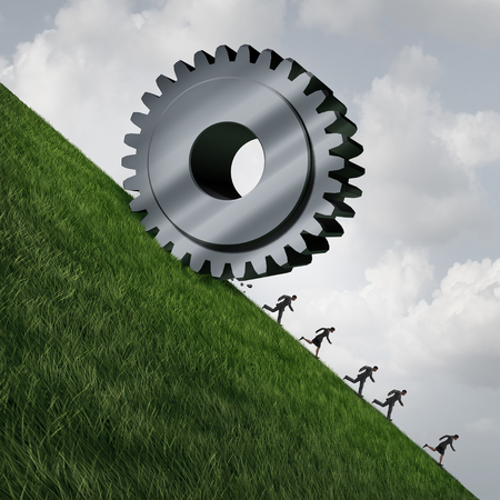 eliminating: Technology eliminating jobs as technological progress is reducing employment  as a giant machine gear rolling down a cliff with people running away as a business or economical metaphor with 3D illustration elements.