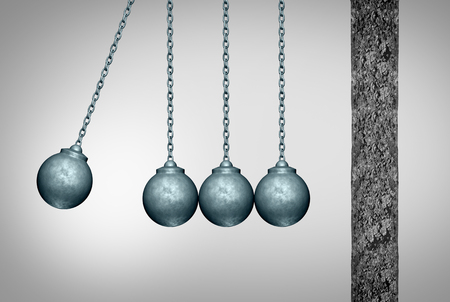 business obstacle: Momentum concept as a group of wrecking balls as a newton cradle pendulum symbol facing a cement wall as a business metaphor for applying a tream strategy to break an obstacle with 3D illustration elements. Stock Photo