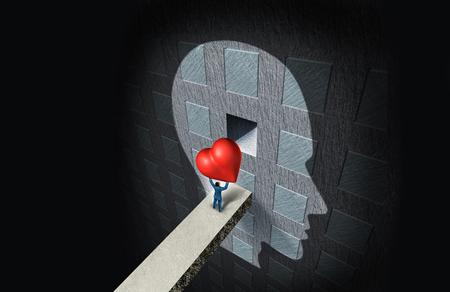 Psychologie van liefde of psychologische seksuele therapie als een persoon die een hart vasthoudt en het in een compartiment in de menselijke geest plaatst als een relatieoplossing voor gevoelens van intimiteit met 3D-illustratie-elementen.