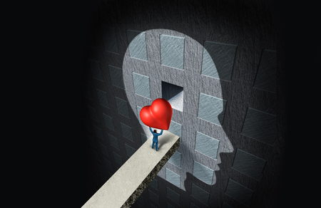 Psychology of love or psychological therapy as a person holding a heart placing it in a compartment inside the human mind as a relationship solution to feelings of with 3D illustration elements.