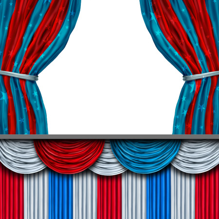 primaries: American politics blank stage or presidential inauguration and inaugural president ceremony or election concept for patriotic celebration or campaigning for voters as a 3D illustration.